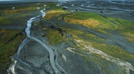 Stock Video Footage of Aerial View of Fertile Land in Arctic Meltwater, Iceland