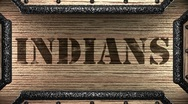 Indians on wooden stamp Stock Footage