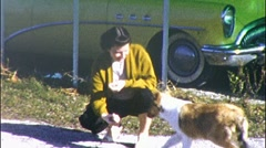 Woman Plays With Pet Collie Circa 1955 (Vintage Film 8mm Home Movie) 598 Stock Footage