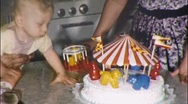 Baby and 1st Birthday Cake Circa 1955 (Vintage Film 8mm Home Movie) 588 Stock Footage