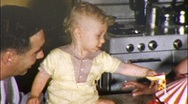 Baby and 1st Birthday Cake Circa 1955 (Vintage Film 8mm Home Movie) 589 Stock Footage