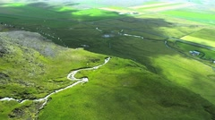 Aerial View of Large Waterfall, Iceland, Arctic region Stock Footage