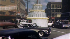 Huge Giant Birthday Cake in Middle of Street 1960s Vintage Film Home Movie 594 Stock Footage