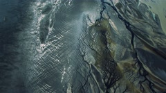 Aerial View of Barren Icelandic Landscape & Volcanic Ash, Iceland Stock Footage