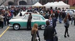Opening rally season on classic cars Stock Footage