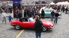 Opening rally season on classic cars, red car start Stock Footage