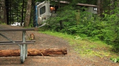 Temperate rain forest lake, rv camping Stock Footage