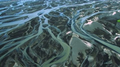 Aerial View of Glacial Meltwater in River Deltas, Iceland Stock Footage