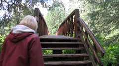 Temperate rain forest lake,woman crossing bridge Stock Footage