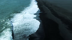 Aerial View of Black Volcanic Ash Beach in Iceland Stock Footage