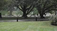 Stock Footage - Arlington Cemetery - Wide view - Watering lawn Stock Footage