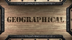 geographical on wooden stamp - stock footage