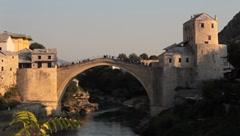 Stari Most. Old Bridge, Mostar 4 Stock Footage
