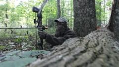 Bow hunter scanning woods beside fallen tree(HD) c Stock Footage