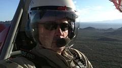 Man riding in ultralight over Tucson, Arizona (HD) c Stock Footage