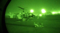 Helo getting fixed at night, Night-vision (HD) m - stock footage