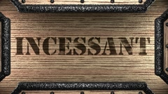 Incessant on wooden stamp Stock Footage