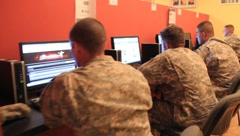 Soldiers on computers(HD) C Stock Footage