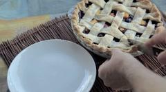 Serving blueberry peach pie Stock Footage