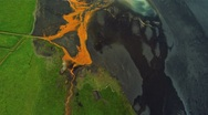 Stock Video Footage of Aerial View of Glacial River Mineral Sediments, Iceland