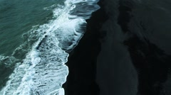 Aerial View of Black Volcanic Ash Beach, Iceland Stock Footage