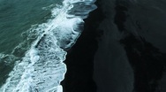 Stock Video Footage of Aerial View of Black Volcanic Ash Beach, Iceland