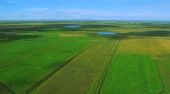 Aerial View of Rich Agricultural Plains, Iceland Stock Footage