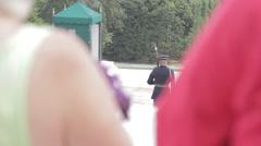 Stock Footage - Gaurd at Arlington in crowd Stock Footage
