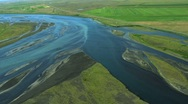 Stock Video Footage of Aerial View of Agricultural Land and Meltwater, Iceland