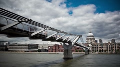 Millennium Bridge and St.Paul's Cathedral - stock footage