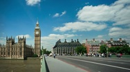 Stock Video Footage of Big Ben with sunny puffy clouds time lapse