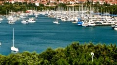 Blue sea and the white yachts Stock Footage