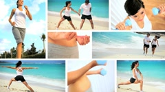 Montage of  Healthy Lifestyle Exercise Stock Footage