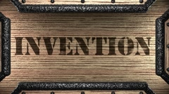 Stock Video Footage of invention on wooden stamp