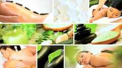 Montage of Multi Ethnic Females Enjoying Spa Treatment Stock Footage
