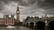 Stock Video Footage of Big Ben with moody clouds time lapse