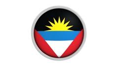 Antiguan and Barbudan flag whit circular frame - stock footage