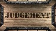 Judgement on wooden stamp Stock Footage
