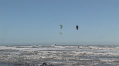 Kite surfers. Wide angle Stock Footage