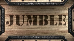 jumble on wooden stamp - stock footage