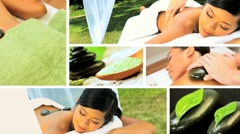 Montage of Multi Ethnic Females at Health Spa - stock footage