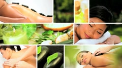 Montage of Multi Ethnic Females at Health Spa Stock Footage
