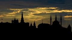 Kazan Kremlin 05 with the dreamy sunset Stock Footage