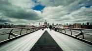 People on the Millenium Bridge - London Stock Footage
