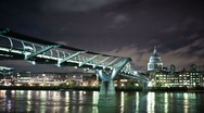 Millennium Bridge and St.Paul's Cathedral at night Stock Footage