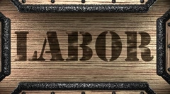 labor on wooden stamp - stock footage