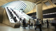 Stock Video Footage of Canary Wharf tube station in London