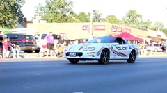 Police sports car with lights flashing Stock Footage
