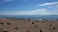 Baltic sea YYteri people swimming in water - stock footage
