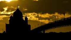Moscow cathedral of Christ the Saviour with the golden sunset Stock Footage